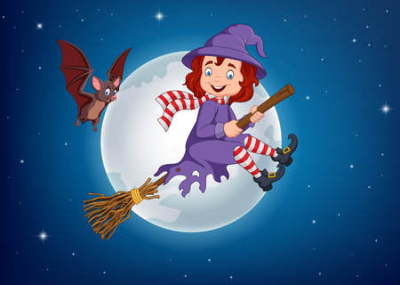 Vector illustration of Cartoon witch flying use a broomstick