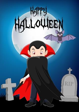 Vector illustration of Cartoon vampire character with halloween background Illustration