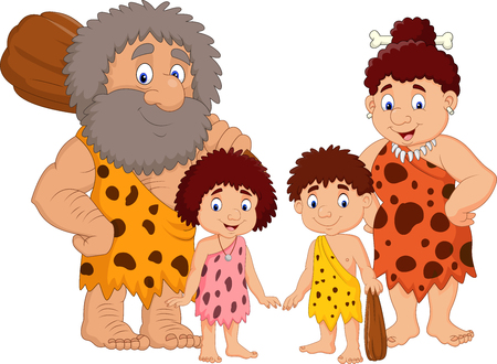Vector illustration of Cartoon caveman family isolate on white background