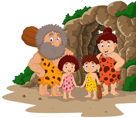 Vector illustration of Cartoon caveman family with cave background