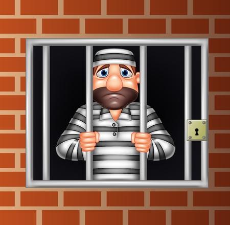 vector illustration de bande dessinée criminelle dans la prison