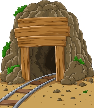Vector illustration of Cartoon mine entrance Çizim