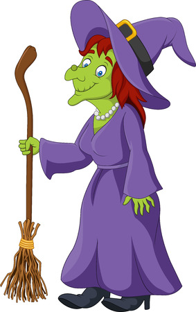 Vector illustration of Cartoon witch holding broomstick