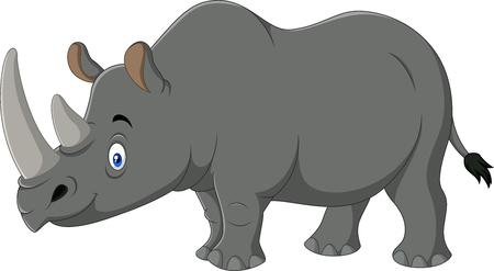 Illustration of cartoon rhino isolated on white background