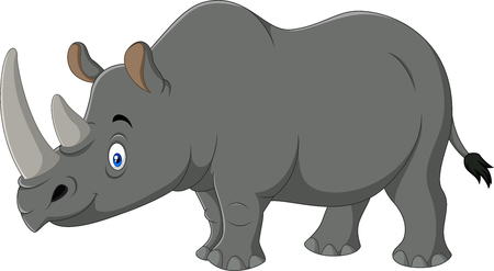 Illustration of cartoon rhino isolated on white background