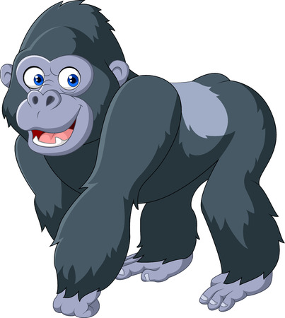 Vector illustration of cartoon silver back gorilla