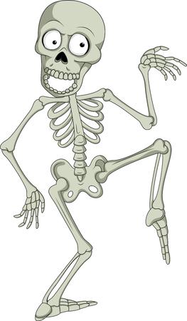 Vector illustration of Cartoon funny human skeleton dancing Illustration