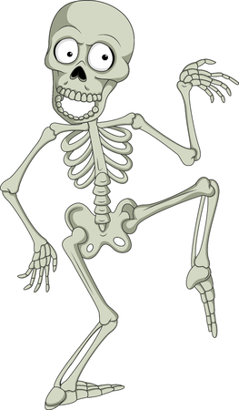 Vector illustration of Cartoon funny human skeleton dancing
