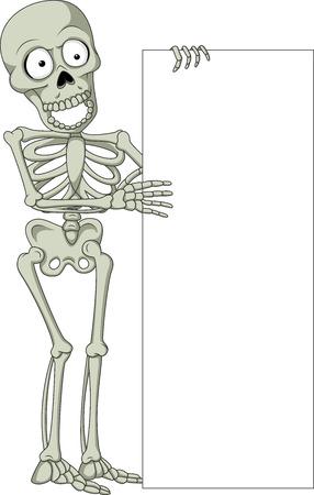 guy standing: Vector illustration of Cartoon skeleton holding blank sign