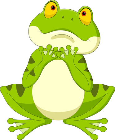 Vector illustration of Cartoon frog hoping for rain