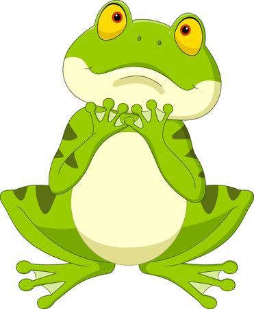 Vector illustration of Cartoon frog hoping for rain