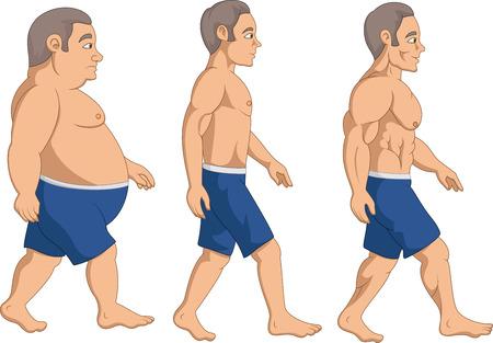 Illustratie van mannen verslanking stadium vooruitgang,