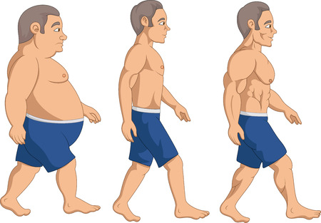 Illustration of Men slimming stage progress, Ilustração
