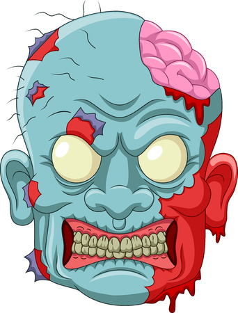 Illustration of Cartoon zombie head icon.