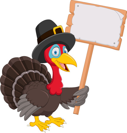 Vector illustration of Cartoon turkey holding blank sign