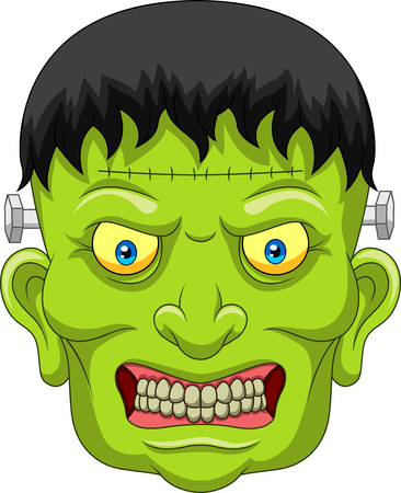 Vector illustration of Cartoon Frankenstein head isolated on white background Illustration