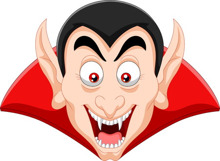 Vector illustration of Cartoon vampire head isolated on white background Иллюстрация