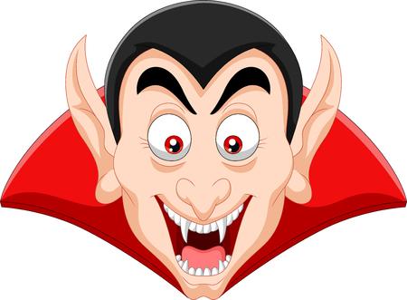 Vectordieillustratie van de vampierhoofd van het Beeldverhaal op witte achtergrond wordt geïsoleerd
