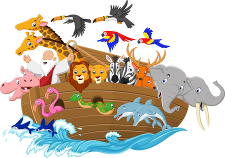Vector illustration of Cartoon Noahs ark Çizim