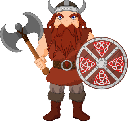 Vector illustration of Cartoon Viking with axe and wooden shield