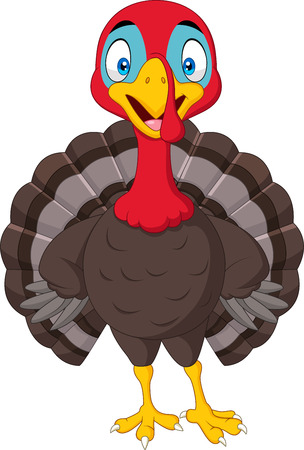 Vector illustration of Cartoon turkey isolated on white background Çizim