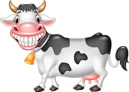 Vector Illustration der glücklichen Kuh der Karikatur, die auf weißem Hintergrund lokalisiert wird Vektorgrafik