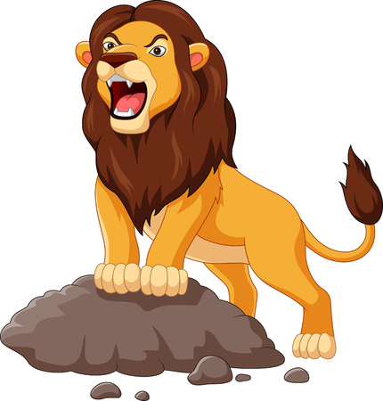 Vector illustration of Cartoon lion roaring isolated on white background Illustration
