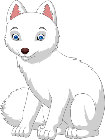 Vector illustration of Cartoon arctic fox isolated