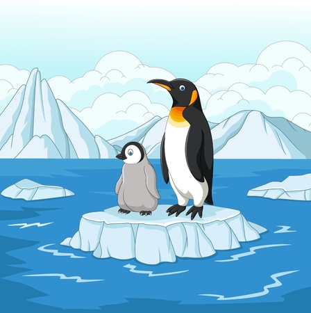 Vector illustration of Carton mother and baby penguin on ice floe