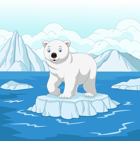 Vector illustration of Cartoon polar bear isolated on ice floe