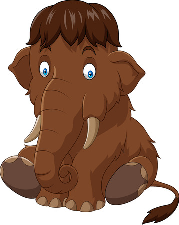 Vector illustration of Cartoon baby mammoth sitting