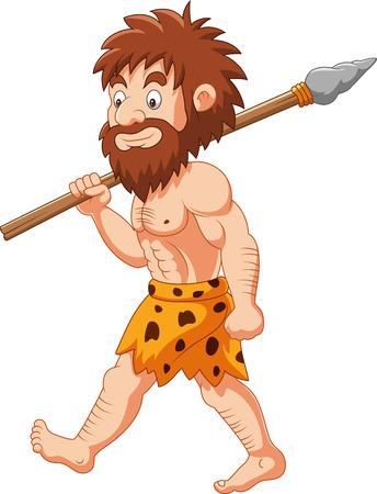Illustration vectorielle de dessin animé homme des cavernes chasse avec lance