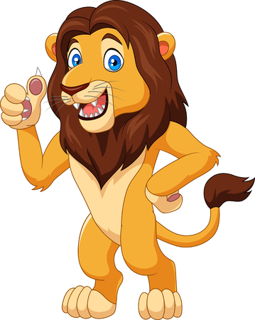Vector illustration of Cartoon lion giving thumb up Ilustração