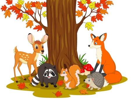 Vector illustration of Cartoon wild creatures in the forest