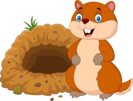 Ilustración vectorial de marmota de dibujos animados en frente de su agujero Foto de archivo - 86194283