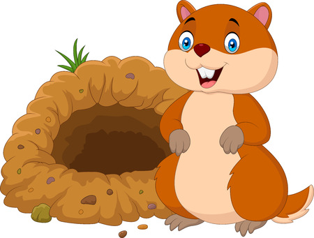 Vector illustration of Cartoon groundhog in front of its hole Stock fotó - 86194283