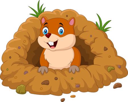 Ilustración de vector de marmota de dibujos animados en busca de agujero Ilustración de vector