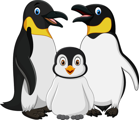 Vector illustration of Cartoon happy penguin family isolated on white background