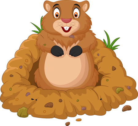 Vector illustration of Cartoon groundhog looking out of hole