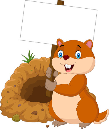 Vector illustration of Cartoon groundhog holding blank sign