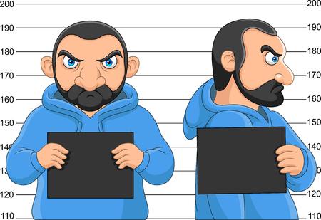 Vector illustration of Arrested man posing for mugshot holding a signboard Illustration