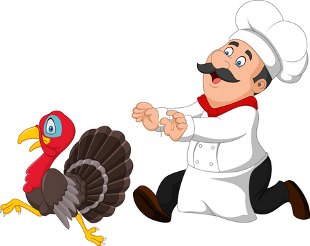 Vector illustration of Cartoon chef trying to catch a turkey