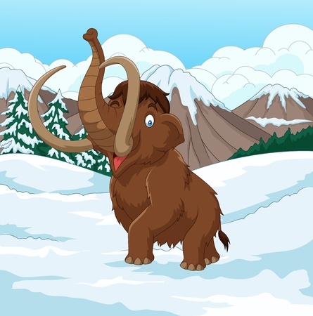 Vector illustration of Cartoon Woolly Mammoth walking through a snowy field