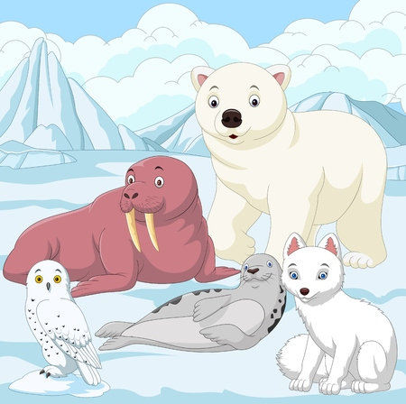 Vector illustration of Cartoon arctic animals with ice field background