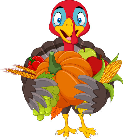 Vector illustration of Cartoon turkey holding fruits and vegetables