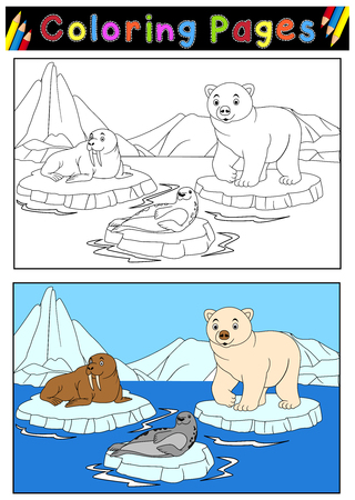 Vector illustration of Arctic animals for coloring book Çizim
