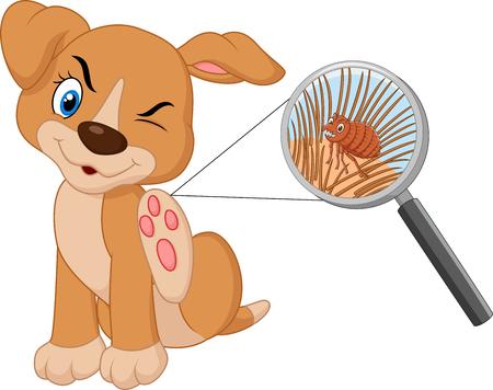 Ilustración de perro infestado pulga