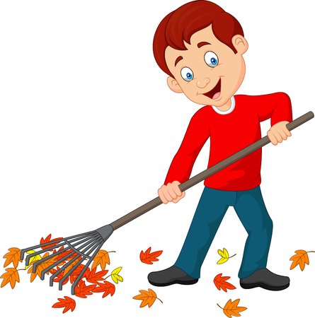 Vector illustration of Happy boy raking leaves