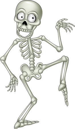 Vector illustration of Cartoon funny human skeleton dancing Ilustração