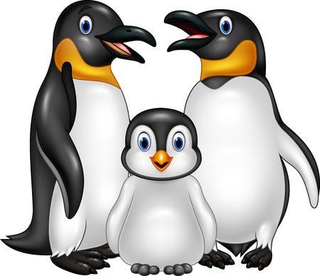Tres Grandes Pingüinos Y Un Pequeño Pingüino Ilustraciones ...